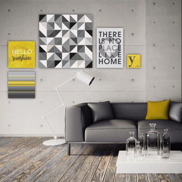 Inspiration HELLO SUNSHINE + HOME    5-teiliges Bilderset Leinwand auf Keilrahmen