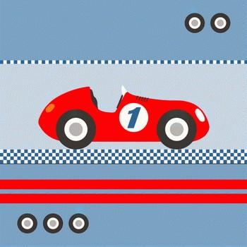 RACER Leinwandbild  auf Keilrahmen hellblau-rot  personalisierbar