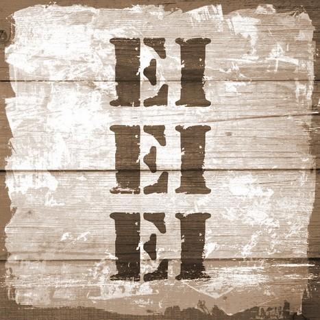 Leinwandbild EI EI EI Stempel Shabby chic natur-braun quadratisch