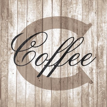 LETTER C wie COFFEE, SHABBY CHIC Leinwand auf Keilrahmen, natur-taupe-schwarz quadratisch