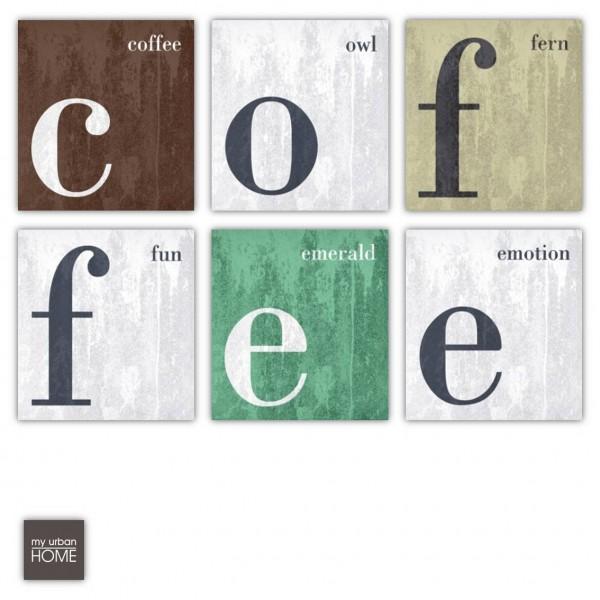 COFFEE  6-teiliges Bilderset Leinwand auf Keilrahmen, 6 Bilder je 20x20 cm