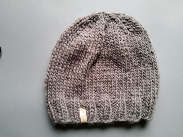 Mütze ALBA reine Wolle Gr. XL hellbraun Handstrick