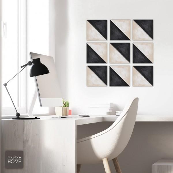 ART  DIAGONAL BLACK-IVORY   9-teiliges Set Leinwandbilder a 20x20cm