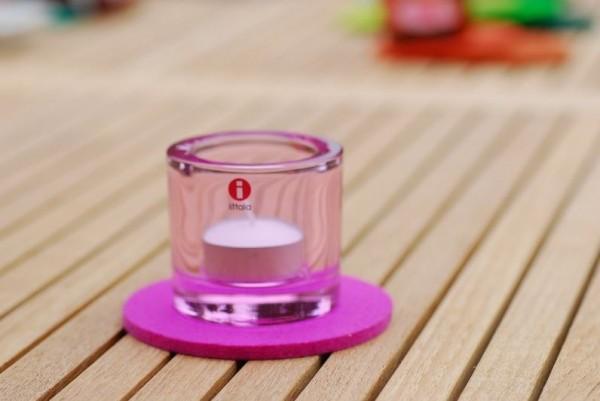 Daff Filz Filzscheibe 10 cm rund, Untersetzer aus Filz pink