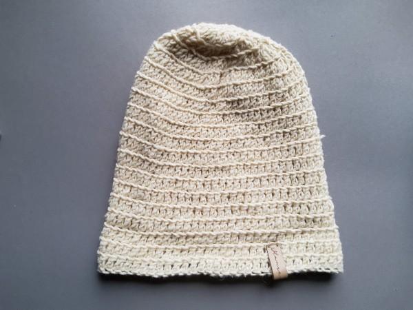 Mütze STIRLING Baumwolle/Wolle Gr. M natur gehäkelt Tweed