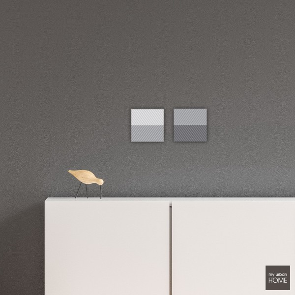 Leinwandbilder ZICK-ZACK, 2-teiliges Set  je 20x20 cm grau-weiss, quadratisch Leinwand auf Keilrahmen