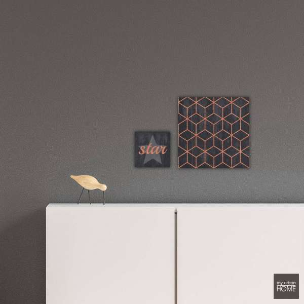 ART RHOMBUS + STAR 2-teiliges Set Leinwandbilder auf Keilrahmen grey-copper