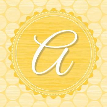 Dekobuchstabe MONOGRAMM A   Buchstabenserie  gelb  Leinwandbild