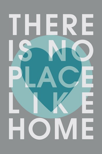 THERE IS NO PLACE LIKE HOME  Leinwandbild Typografie grau-türkis
