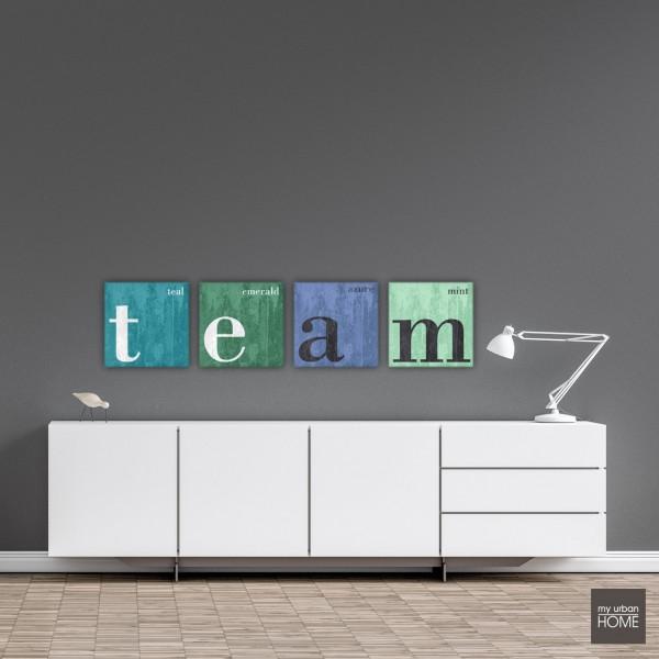 Leinwandbilder TEAM  4-teiliges Bilderset Leinwand auf Keilrahmen, 4 Bilder je 40x40 cm