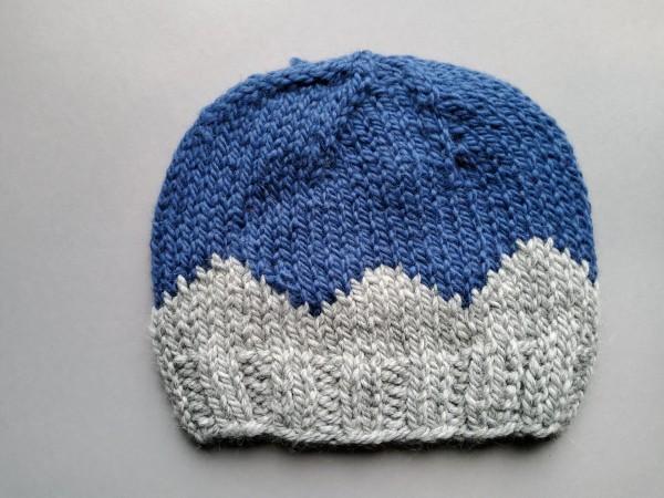 Mütze INVERNESS Alpaka/Wolle Gr. M blau-grau Handstrick
