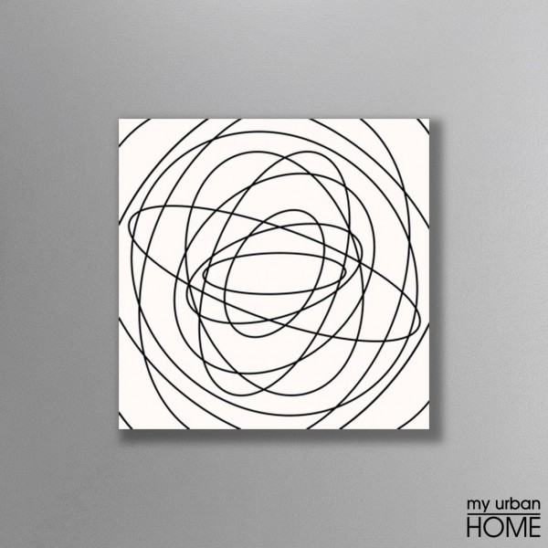 Leinwandbild CIRLES weiß-schwarz auf Keilrahmen quadratisch