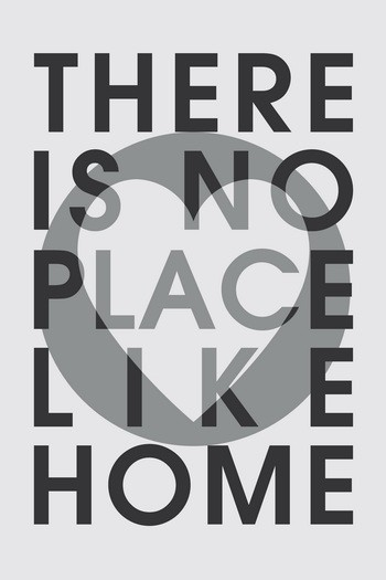 THERE IS NO PLACE LIKE HOME Leinwandbild Typografie grau schwarz