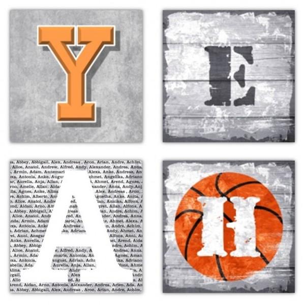 Leinwandbilder YEAH  4-teiliges Bilderset Leinwand auf Echtholzrahmen, 4 quadratische Bilder je