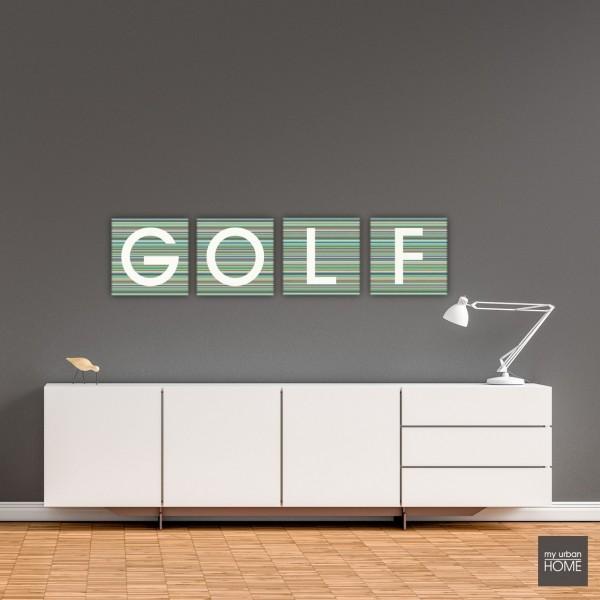 Leinwandbilder GOLF STRIPES 4-teiliges Set BUCHSTABENSERIE Leinwand auf Keilrahmen je 40x40cm