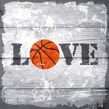 Leinwanndbild BASKETBALL - LOVE auf Keilrahmen, grau orange