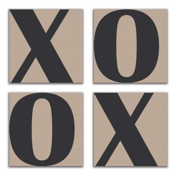 XOXO aus Buchstabenserie LETTER 0109 4-teiliges Set Leinwandbilder auf Keilrahmen , taupe-anthrazit