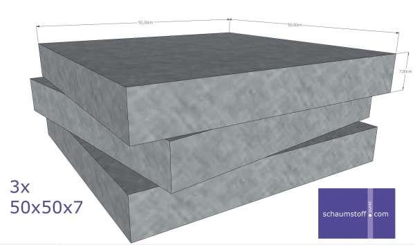 Schaumstoff Zuschnitte fertig geschnitten auf 50x50x7 cm im Set zu je 3 Stück