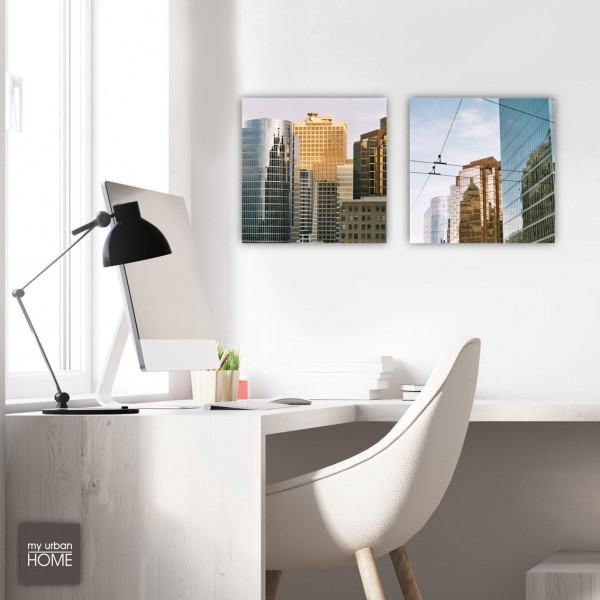 Leinwandbilder VANCOUVER 2-teiliges Set Leinwand auf Keilrahmen ,  je 40x40 cm