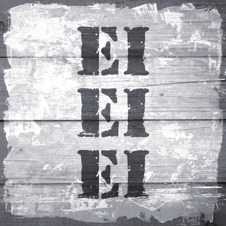 Leinwandbild EI EI EI Stempel Shabby chic grau quadratisch