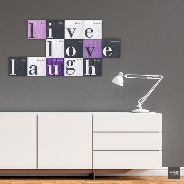 Inspiration LIVE LOVE LAUGH  13-teiliges Bilderset Leinwand auf Keilrahmen, 13 Bilder je 20x20 cm