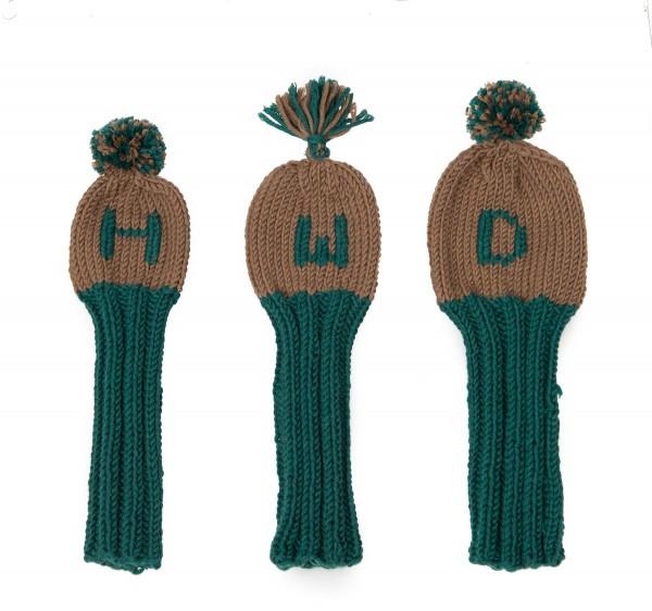 Headcover Golfschläger Handstrick Wolle: 3er Satz
