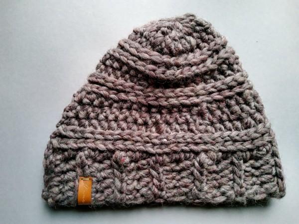 Mütze MAC braun reine Wolle Gr. L gehäkelt