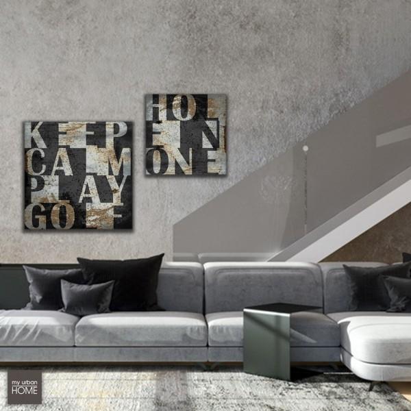 Leinwandbild KEEP CALM PLAY GOLF anthrazit-grau-rost, Leinwand auf Keilrahmen quadratisch