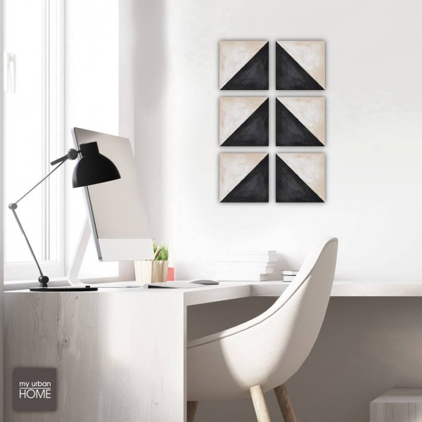 ART  DIAGONAL BLACK-IVORY   6-teiliges Set Leinwandbilder a 20x20cm