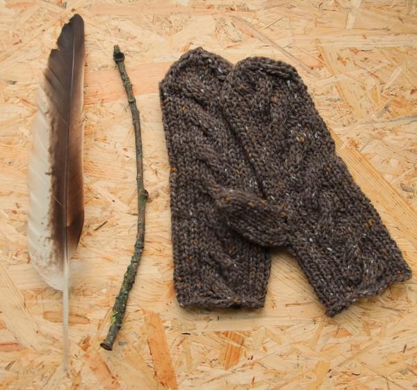 Fäustling Handstrick Merino Tweed