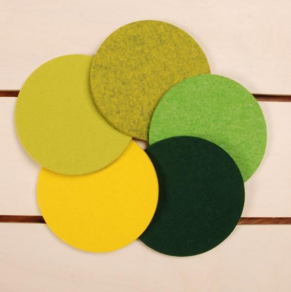 Daff Filz Filzscheibe 10 cm rund, Untersetzer aus Filz gift grün meliert