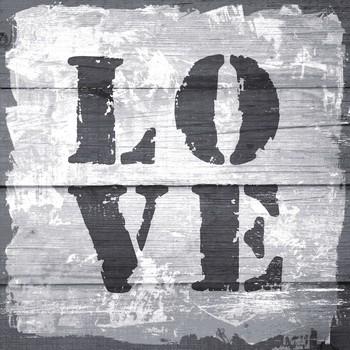 Leinwandbild LOVE Vintage Stempel grau