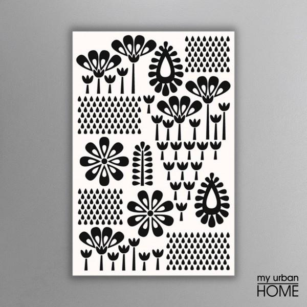 Leinwandbild RETRO FLOWERS weiß-schwarz auf Keilrahmen Hochformat 2 : 3
