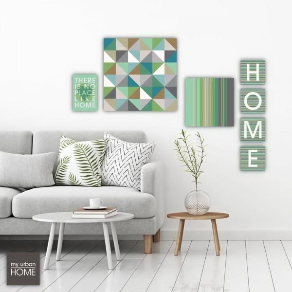 HOME, TRIANGLES 6 STRIPES  7-teiliges Set  Leinwandbilder auf Keilrahmen
