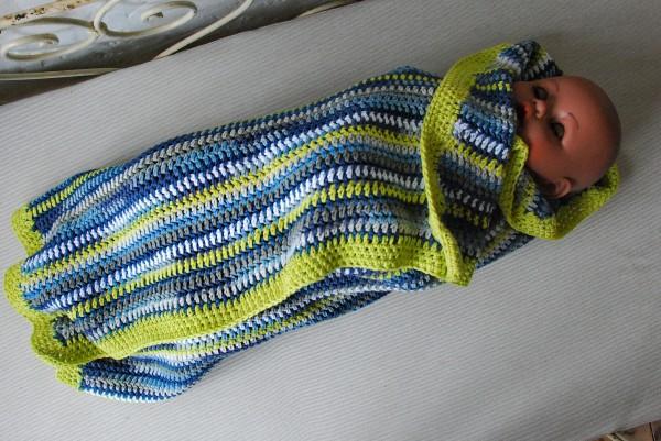 Häkeldecke für Babies Baumwolle LINES LEMON