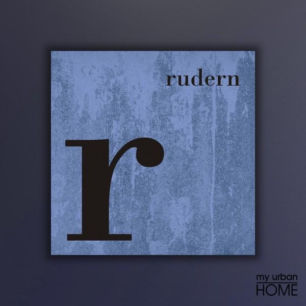 Leinwandbld COLOR SPORT  R wie RUDERN Buchstabenserie azure-blau quadratisch