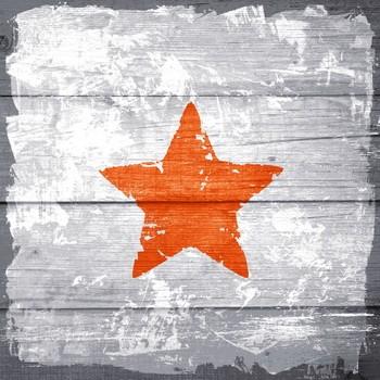 STERN STEMPEL  orange Leinwanddruck auf Keilrahmen