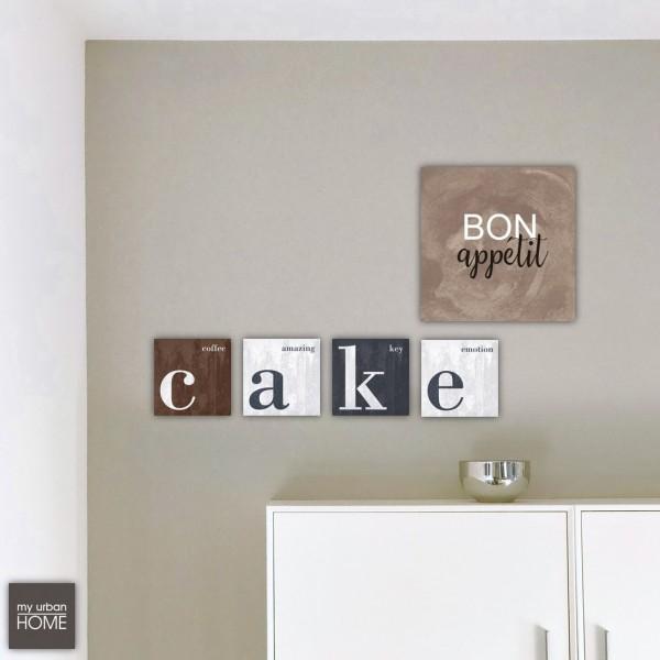 BON APPÉTIT & CAKE  5-teiliges Set  Leinwand auf Keilrahmen