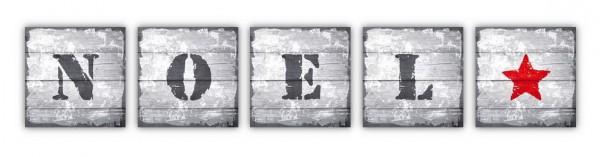 NOEL STEMPEL aus Buchstabenserie  5-teiliges Set Leinwandbilder auf Keilrahmen 20x20 cm