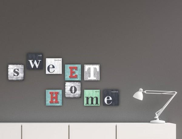 Inspiration SWEET HOME   9-teiliges Bilderset  Leinwand auf Keilrahmen je 20x20 cm