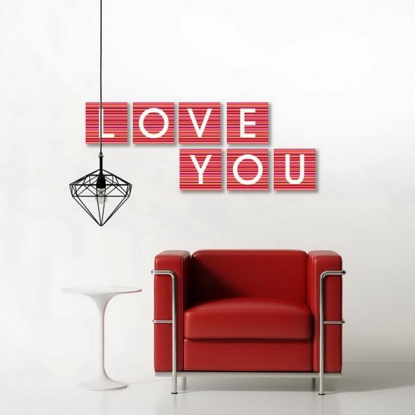 LOVE YOU STRIPES red-orange  7-teiliges Set Leinwandbilder auf Keilrahmen