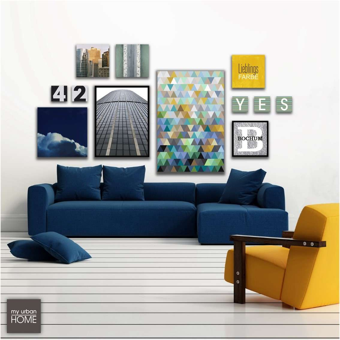 Leinwandbilder 12-teiliges Bilderset ART6006, CLOUDS, CITY-LETTER, NUMBERS, LIEBLIBGSFARBE...