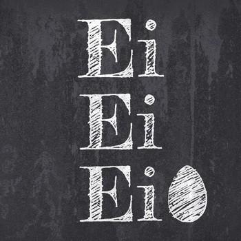 Leinwandbild EI EI EI Leinwand auf Keilrahmen schwarz-weiß quadratisch