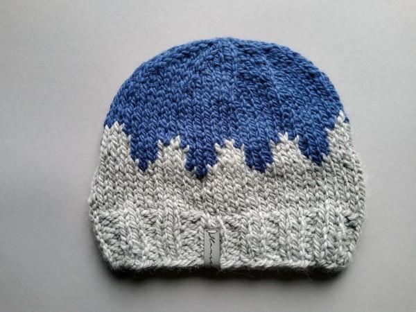 Mütze INVERNESS Alpaka/Wolle Gr. L blau-grau Handstrick