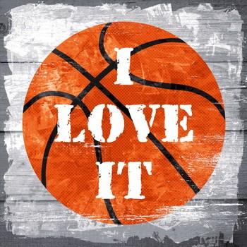 BASKETBALL - I LOVE IT Leinwand auf Keilrahmen, grau orange
