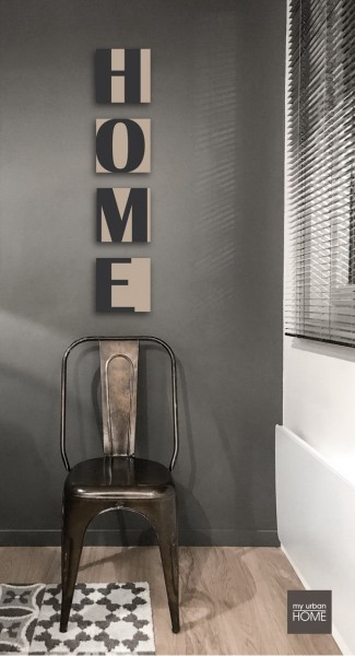 HOME aus Buchstabenserie   BOLD LETTER 0109  4-teiliges Set, je 20x20cm, taupe-anthrazit