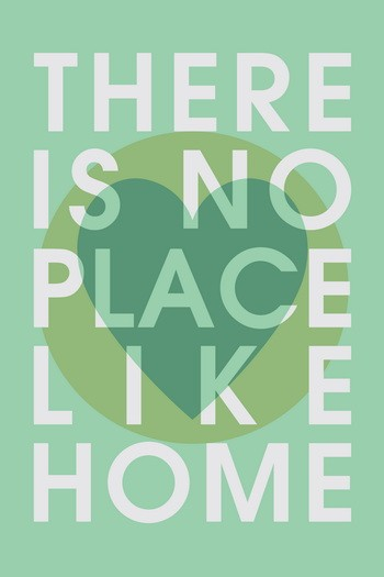 THERE IS NO PLACE LIKE HOME Leinwandbild Typografie grün