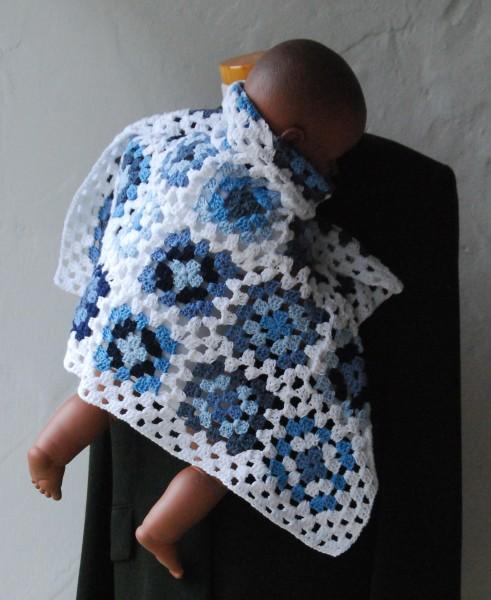 Häkeldecke Baumwolle Granny Squares BLUE