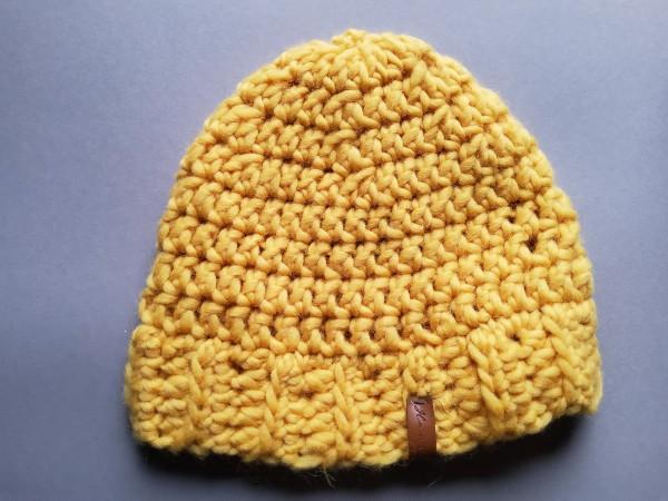 Mütze DUMFRIES gelb reine Wolle Gr. L gehäkelt
