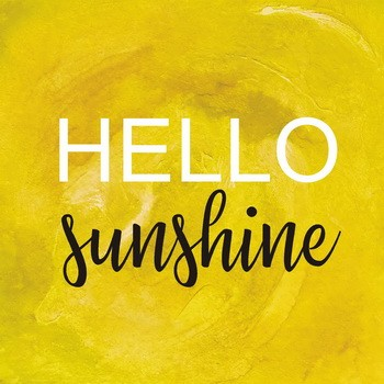 HELLO SUNSHINE gelb Leinwandbild auf Keilrahmen